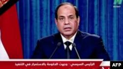 ژنرال السیسی، رئیس جمهوری مصر، در حال سخنرانی در خصوص داعش در لیبی