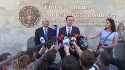 Kosovo: US senators, Chris Murphy and Ron Jonson during a press conference in Pristina
