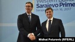 Premijer Srbije Aleksandar Vučić sa predsjedavajućim Vijeća ministra BiH Denisom Zvizdićem u Sarajevu,16. marta 2017.