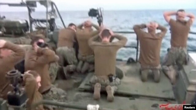 Iran released video of the U.S. sailors on their knees with their hands behind their heads.