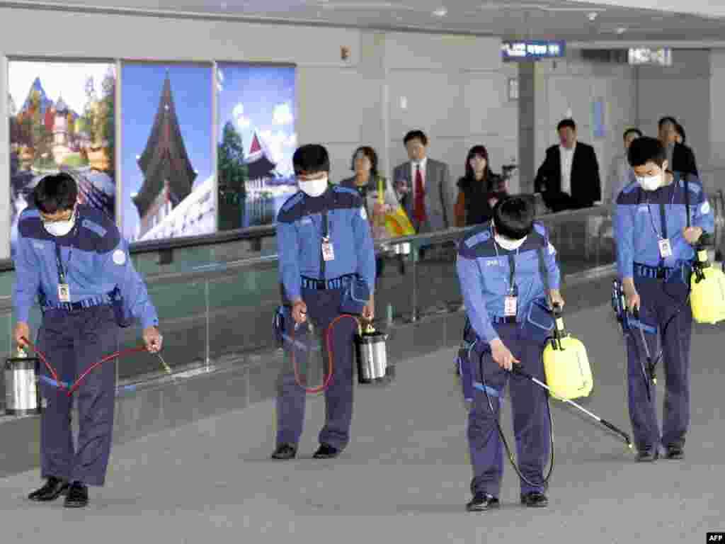 Число смертных случаев от заражения свиным гриппом в Мексике возросло до 22. На фото: Обработка зоны прилета в аэропорту Сеула
