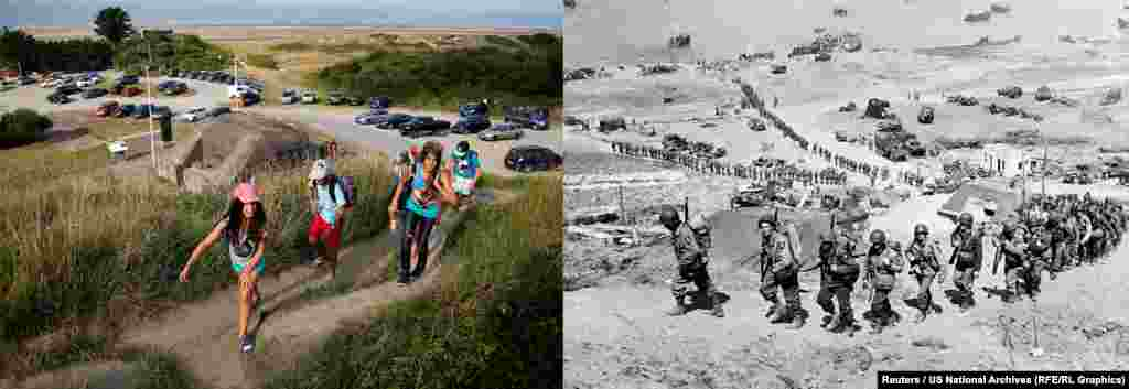 On the right, U.S. Army reinforcements march up a hill past a German bunker overlooking  the D-Day landing zone on Omaha Beach. On the left, young people hike past the same bunker.