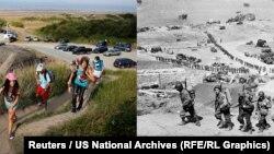 Молодь піднімається на гору повз старовинний німецький бункер і армія США піднімається на гору повз німецький бункер поблизу Omaha Beach