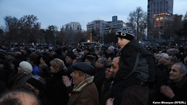 Thousands gathered for a rally by opposition candidate Raffi Hovannisian in Yerevan on February 20.