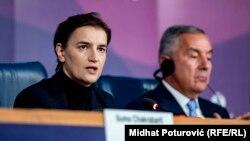 Premijerka Srbije Ana Brnabić i predsjednik Crne Gore Milo Đukanović