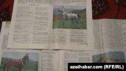 Türkmen gazetlerinde Arkadaga hem-de bedewlere bagyşlanyp çap edilen täze goşgulardan käbiri. Aprel, 2012.
