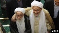 آیت الله مهدوی کنی (راست)، «شان روحانيت» را بالاتر از آن دانسته است تا در فعاليت های حزبی شرکت کند.