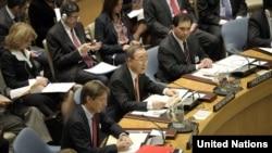 أمين عام الأمم المتحدة بان كي مون في جلسة لمجلس الأمن الدولي