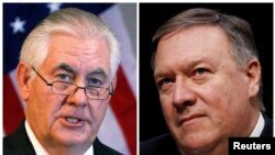 A combo of U.S. Secretary of State Rex Tillerson (L) and Mike Pompeo, the director of the Central Intelligence Agency