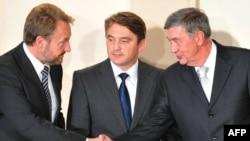Tročlano Predsjedništvo BiH: Bakir Izetbegović, Željko Komšić i Nebojša Radmanović, novembar 2010.