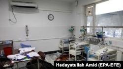 FILE: Blood stains are seen in the nursery of maternity section of MSF hospital, after an attack in Kabul on May 12.