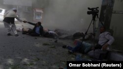 The scene in Kabul after a second bomb detonated killing several journalists.
