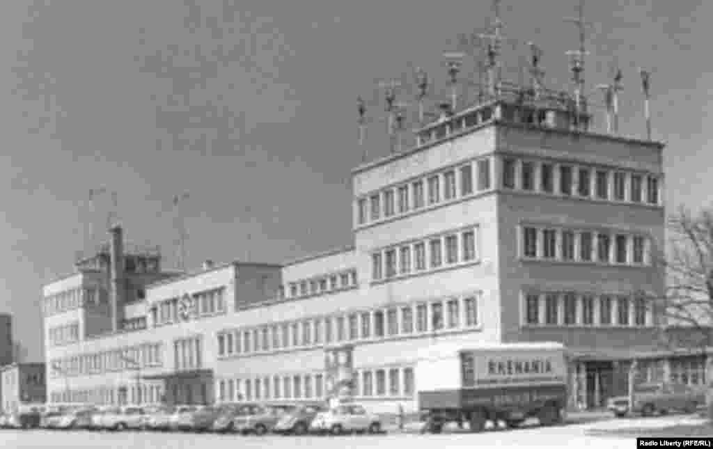 The first Radio Liberation building in Munich's Obervizenfeld in 1953.