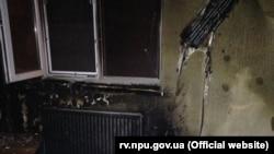Наслідки підпалу редакції «Четверта влада», фото поліції Рівненщини