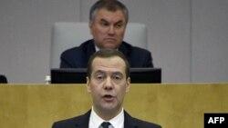 Вячеслав Володин в Государственной думе во время выступления Дмитрия Медведева 17 апреля 2017 г.