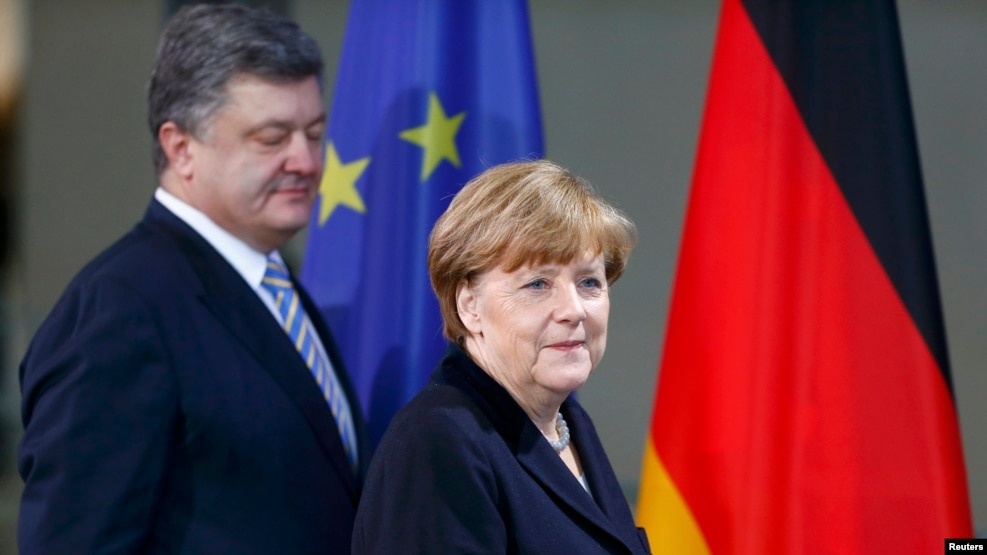 German Chancellor Angela Merkel and Ukrainian President Petro Poroshenko in Berlin in February