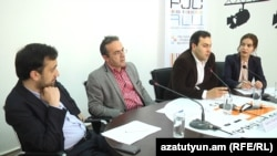 Armenia -- Civil activists Daniel Ioanisian (l), Artur Sakunts (c) and Tigran Yegorian at a press conference. 15May, 2017