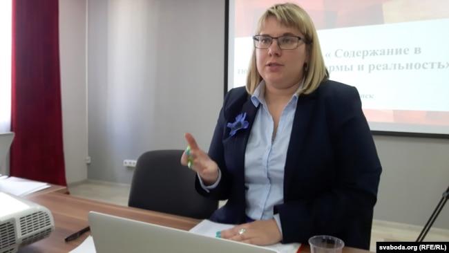 Вольга Кавалькова падчас круглага стала