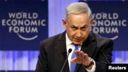 Israel's Prime Minister Benjamin Netanyahu speaking at Davos.