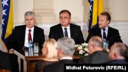 Članovi Predsjedništva Bosne i Hercegovine: Dragan Čović, Mladen Ivanić i Bakir Izetbegović