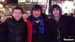Boston Marathon bombing suspect Dzhokhar Tsarnaev (right) poses with Azamat Tazhayakov (left) and Dias Kadyrbaev in an undated photo taken in New York City.
