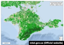 The map, issued by the Ukrainian ministry, purportedly shows Crimea's vegetation in 2016.