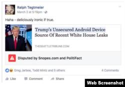 Приклад публікації, перевіреної PolitiFact та Snopes.com і позначеної як «спірна»