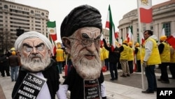 Washimgton DC - Protesters outside the White House demand regime change in Iran. March 8, 2019.