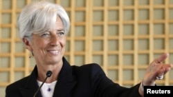 French Finance Minister Christine Lagarde announced her candidacy for the top IMF job at a press conference in Paris.