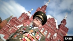 A war veteran attends Victory Day celebrations in Moscow on May 9.