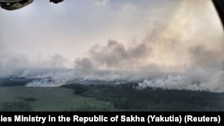 Fires engulfing the Sakha-Yakutia Republic viewed from above.