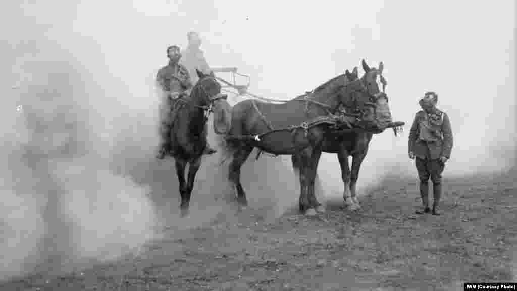 Британские солдаты и лошади в дыму в результате использования химического оружия в Великобритнии во время Первой мировой войны.