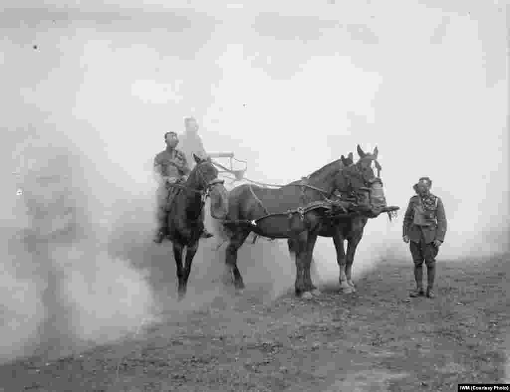 An undated photo shows World War I chemical drill included men and horses from Britain's Army Service Corps in the United Kingdom.