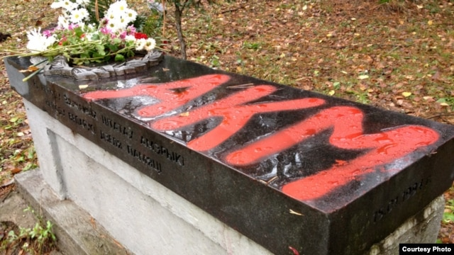 Vandalism at the Kurapaty memorial outside Minsk on November 9