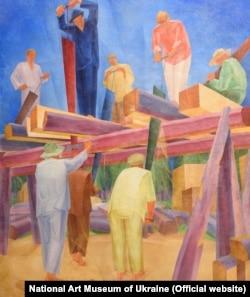 «Пилярі (Праця пилярів, Розпил колод)», Олександр Богомазов. Національний художній музей України