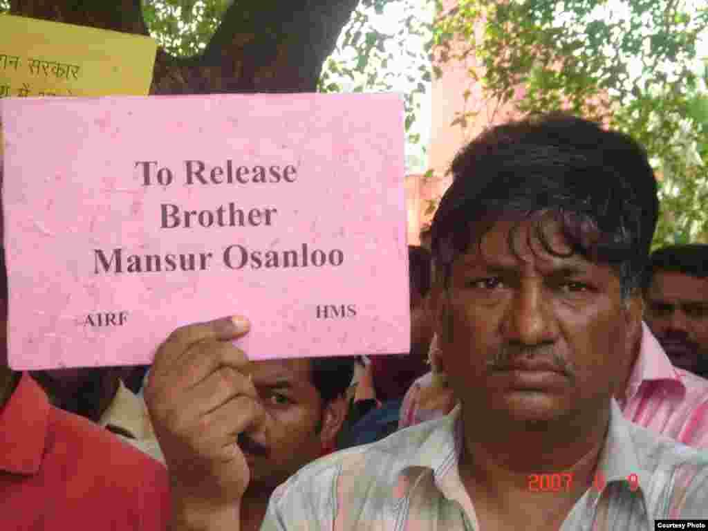 فعالان کارگری هندی و تظاهرات در این کشور برای آزادی اسانلو و صالحی