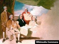 """""""Американские делегаты на подписании предварительного мирного соглашения с Англией"""". Неоконченное полотно Бенджамина Уэста. 1783-1784. Слева направо: Джон Дэй, Джон Адамс, Бенджамин Франклин, Генри Лоренс и секретарь миссии Уильям Темпл Франклин – тот самый внук Франклина, которого благословил Вольтер."""