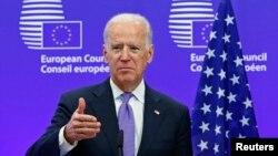 АҚШ вице-президенті Джо Байден Брюссельдегі кездесуде. 6 ақпан 2015 жыл.