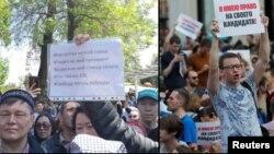 Антиправительственное выступление в Алматы 1 мая (слева) и акция в Москве в поддержку незарегистрированных кандидатов в депутаты.
