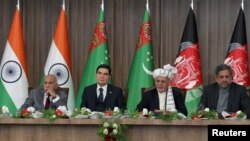 (Left to right:) Indian Minister of State for External Affairs M.J. Akbar, Turkmen President Gurbanguly Berdymukhammedov, Afghan President Ashraf Ghani, and Pakistani Prime Minister Shahid Khaqan attend a ceremony marking what was supposed to be a TAPI milestone on February 23.