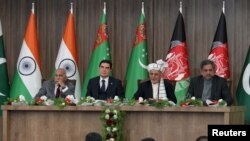 (Left to right:) Indian Foreign Minister M.J. Akbar, Turkmen President Gurbanguly Berdymukhammedov, Afghan President Ashraf Ghani, and Pakistani Prime Minister Shahid Khaqan Abbasi at the TAPI pipeline inauguration ceremony in Herat.