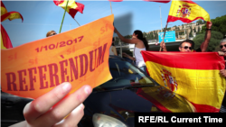 Supporters of the Catalonia referendum in Barcelona