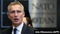 NATO Secretary-General Jens Stoltenberg arrives for a meeting at NATO headquarters in Brussels on June 27.