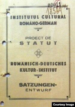 Proiectul de Statut al Institutului Român de la Berlin (Foto: Irina Matei, L. Nastasă-Kovacs, Cultură și propagandă)