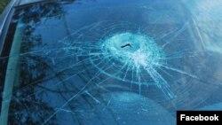 Разбитое стекло машины Гончаровой