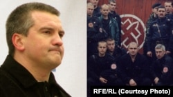 Gangsters, fascists and separatists: Sergei Aksyonov (first image) and Pavel Gubarev (first from left in front row, second image) with his Russian National Unity comrades.