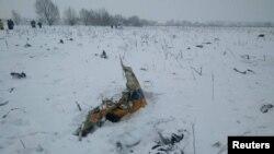 На месте крушения самолета Ан-148 в Раменском районе Московской области.
