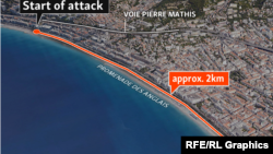 Франция - На карте отмечен путь, пройденный грузовиком на набережной в Ницце