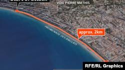 На снимке со спутника — участок набережной в городе Ницца во Франции, где в четверг, 14 июля, была совершена атака, в которой погибли десятки человек.