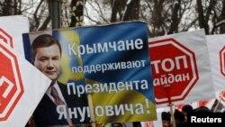 Ukrainë - Përkrahësit e presidentit Viktor Yanukovych në rajonin Crimea (Ilustrim)